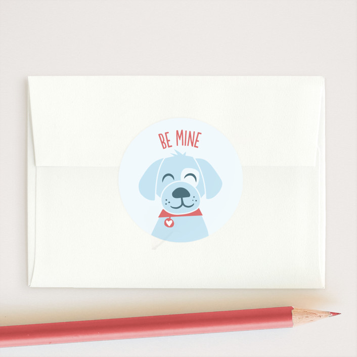 """Puppy Hugs"" - Custom Stickers in Sky by Jessie Steury."