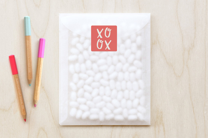"""""""Tic-Tac-Toe Xoxo"""" - Custom Stickers in Coral Crush by Stacy Kron."""