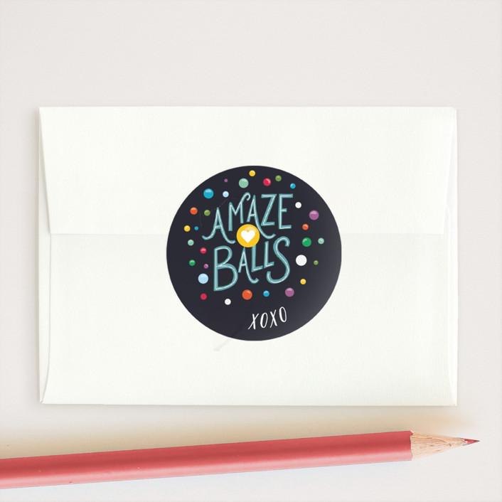 """Amazeballs"" - Custom Stickers in Midnight by Shiny Penny Studio."