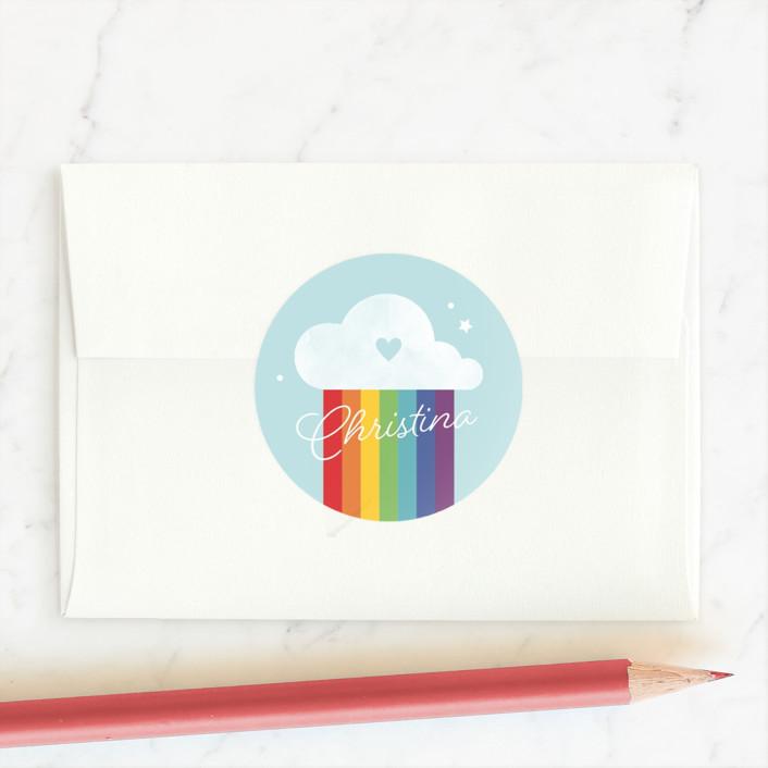 """""""Brighten My Day"""" - Custom Stickers in Rainbow by Kristen Smith."""