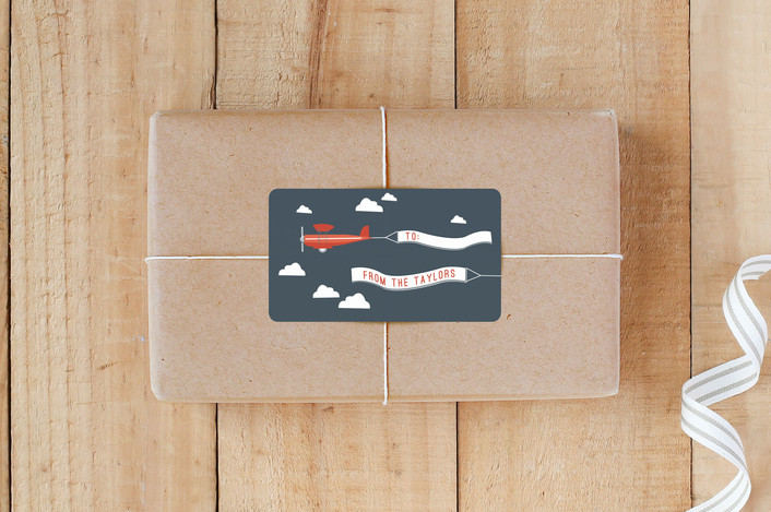 """""""In Flight"""" - Whimsical & Funny Custom Stickers in Navy by R studio."""
