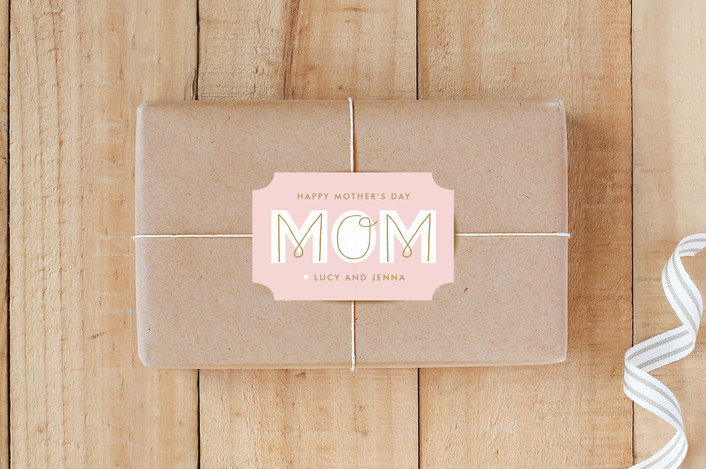 """""""MOM"""" - Custom Stickers in Cotton Candy by Lauren Chism."""