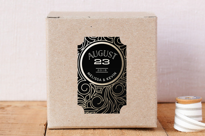 """Antique Lines Date"" - Custom Stickers in Noir by GeekInk Design."