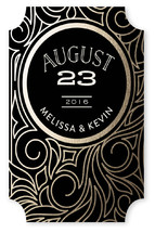 This is a black custom sticker by GeekInk Design called Antique Lines Date with standard printing on uncoated sticker paper in sticker.