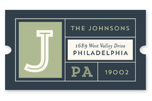 This is a green custom sticker by Shari Margolin called Bold Monogram Grid Address with standard printing on uncoated sticker paper in sticker.