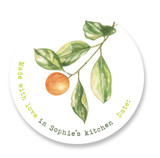 This is a green custom sticker by Ava Thomson called Kumquat with standard printing on uncoated sticker paper in sticker.