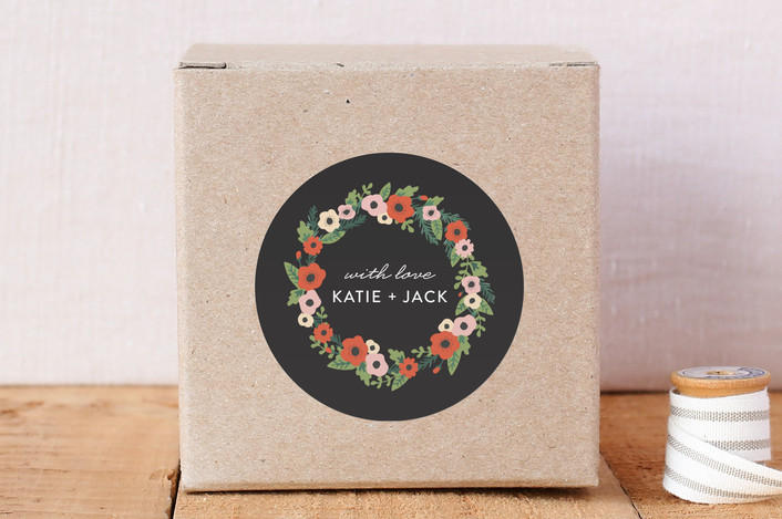 """""""Flower Wreath"""" - Custom Stickers in Charcoal by August and Oak."""