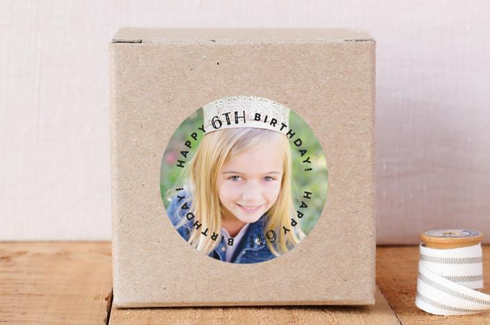 """Fun Happy Birthday"" - Custom Stickers in Onyx by Christina Novak."