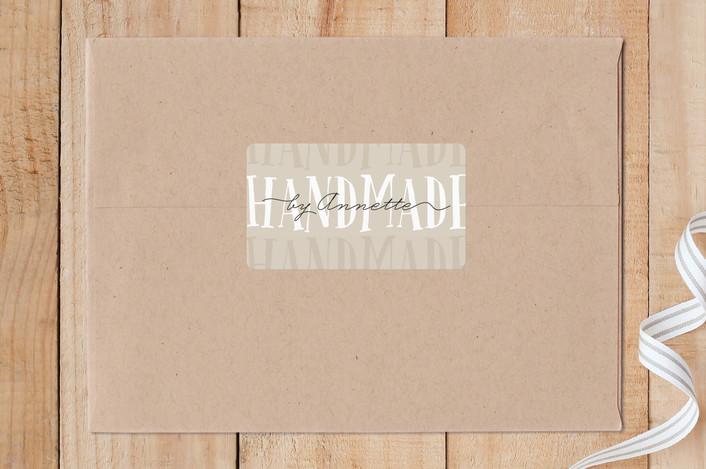 """Handmade"" - Custom Stickers in Khaki by 24th and Dune."