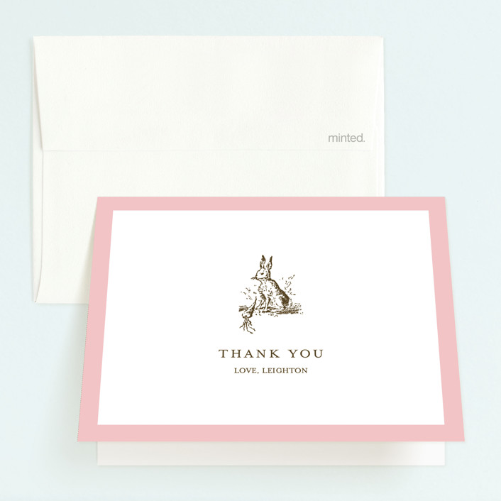 """Classic Bunny"" - Childrens Birthday Party Thank You Cards in Pink Blush by Toast & Laurel."