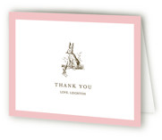 This is a pink kids thank you card by Toast & Laurel called Classic Bunny with standard printing on strathmore in standard.