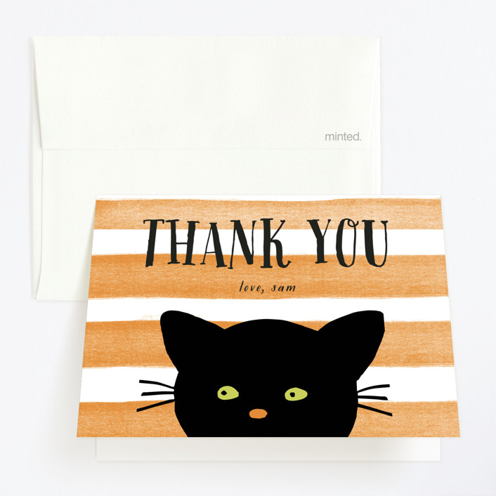 """Striped Cat"" - Childrens Birthday Party Thank You Cards in Candy Corn by August and Oak."