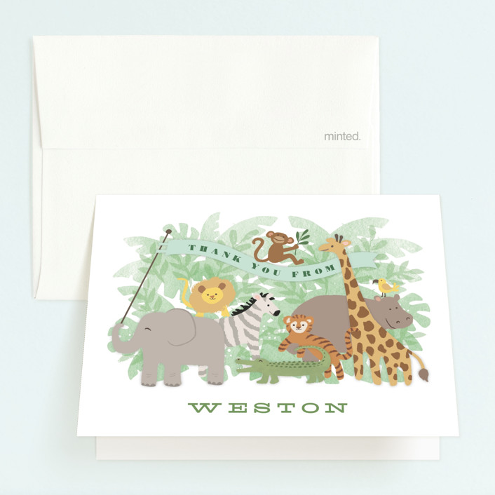 """Jungle One"" - Childrens Birthday Party Thank You Cards in Jungle by Jennifer Wick."