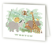 This is a green kids thank you card by Jennifer Wick called Jungle One with standard printing on strathmore in standard.