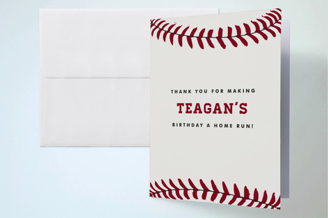 Baseball Game Pass Childrens Birthday Party Thank You Cards