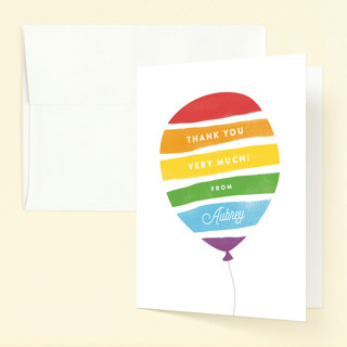 Painted Balloon Childrens Birthday Party Thank You Cards