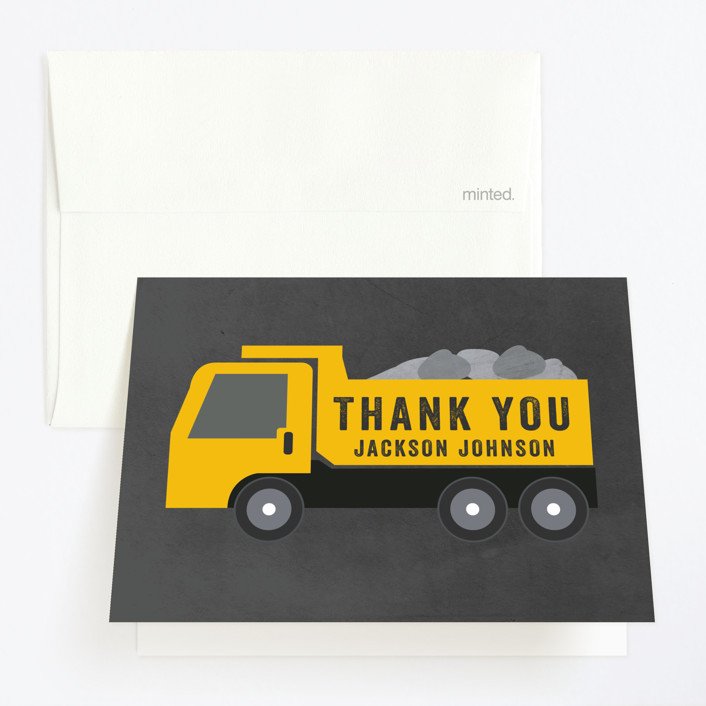 """""""Party Zone"""" - Childrens Birthday Party Thank You Cards in Kraft by Annie Holmquist."""