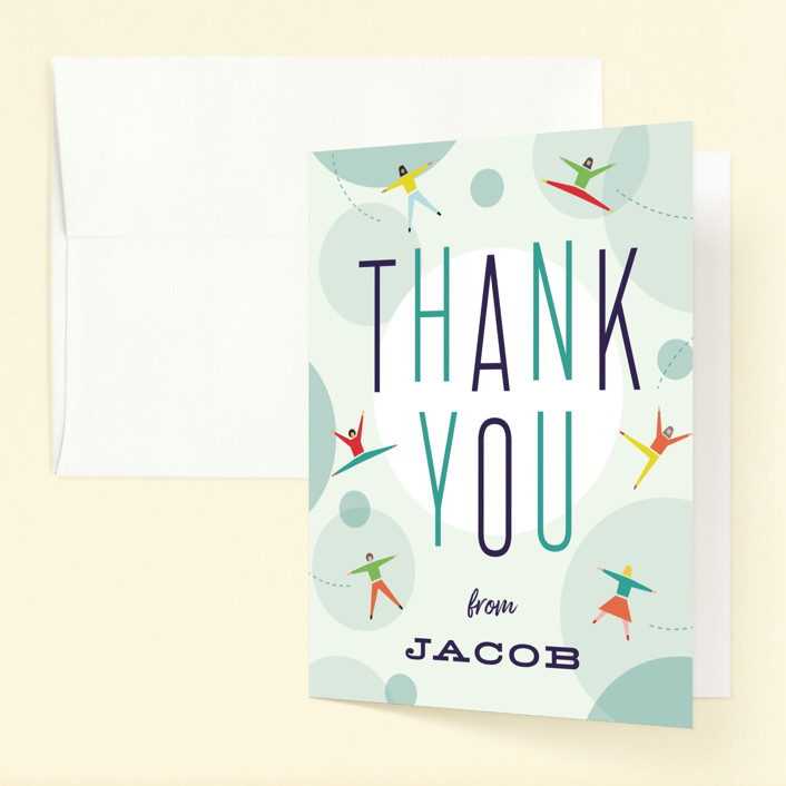 """Bounce into a birthday"" - Childrens Birthday Party Thank You Cards in Aquamarine by Heather Francisco."