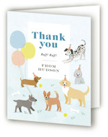 This is a blue kids thank you card by Karidy Walker called Pawty Time with standard printing on strathmore in standard.