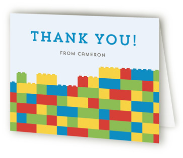 Master Builders Party Children's Birthday Party Thank You Cards