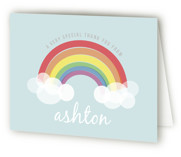 This is a colorful kids thank you card by Angela Garrick called Rainbow Celebration with standard printing on strathmore in standard.