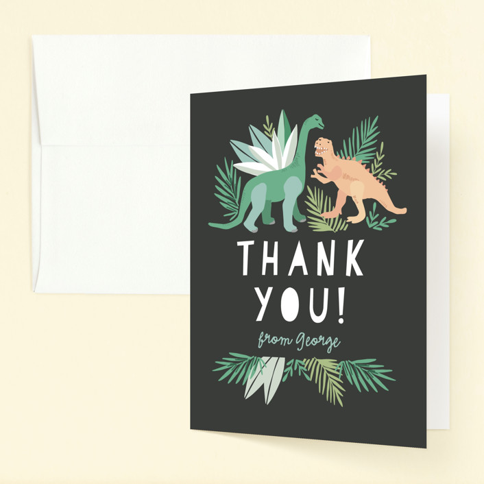 """""""Dino Friends"""" - Childrens Birthday Party Thank You Cards in Graphite by Alethea and Ruth."""