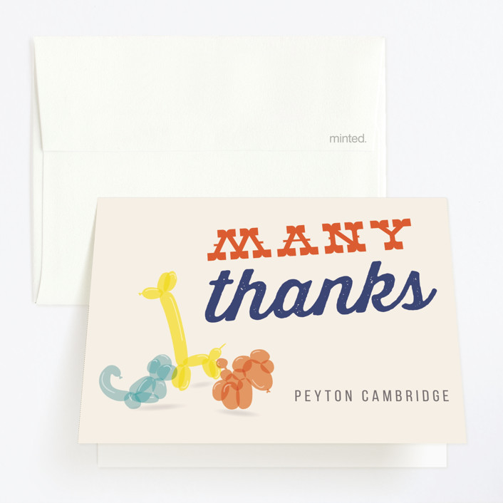 """""""Party Animal"""" - Childrens Birthday Party Thank You Cards in Poppy by 24th and Dune."""
