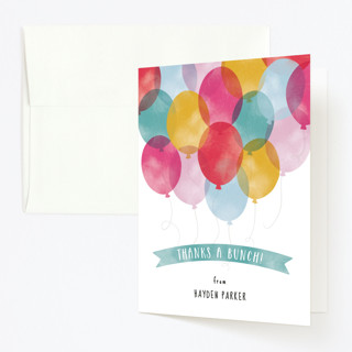 Birthday Balloons Childrens Birthday Party Thank You Cards