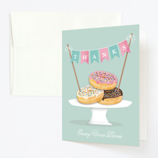 Everyone Loves Donuts Childrens Birthday Party Thank You Cards