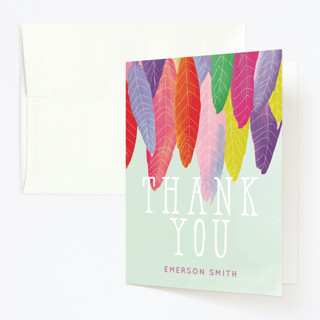 Feather Wild One Childrens Birthday Party Thank You Cards