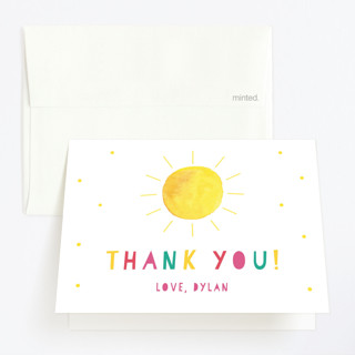 Little Sunshine Childrens Birthday Party Thank You Cards