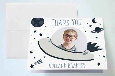 Space Cadet Childrens Birthday Party Thank You Cards