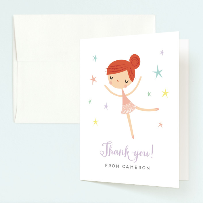 """Tiny Dancer"" - Childrens Birthday Party Thank You Cards in Ginger by Shannon Hays."