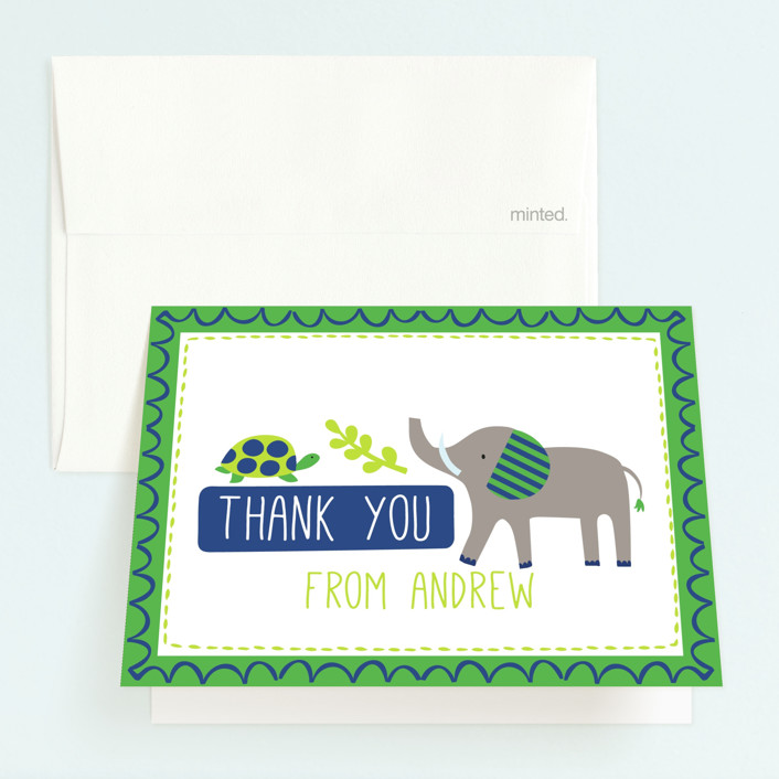 """""""Bright Jungle"""" - Childrens Birthday Party Thank You Cards in Navy by Kristen Cavallo."""