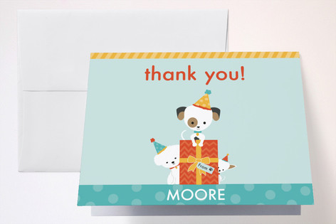 Pawty Time Childrens Birthday Party Thank You Cards