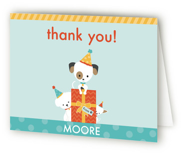 Pawty Time Children's Birthday Party Thank You Cards