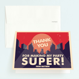 Super Heroes Childrens Birthday Party Thank You Cards