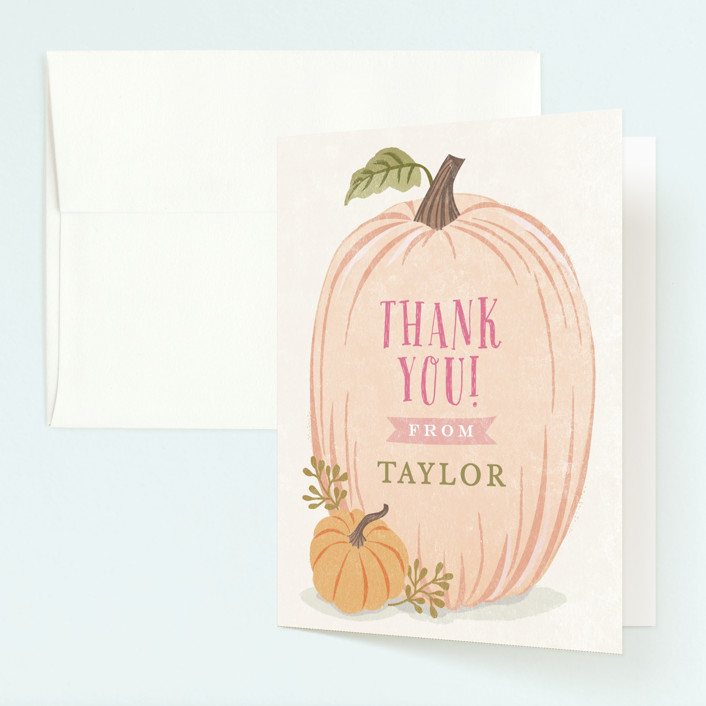 """""""Autumn Pumpkin"""" - Childrens Birthday Party Thank You Cards in Peach by Karidy Walker."""