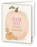 This is a orange kids thank you card by Karidy Walker called Autumn Pumpkin with standard printing on strathmore in standard.