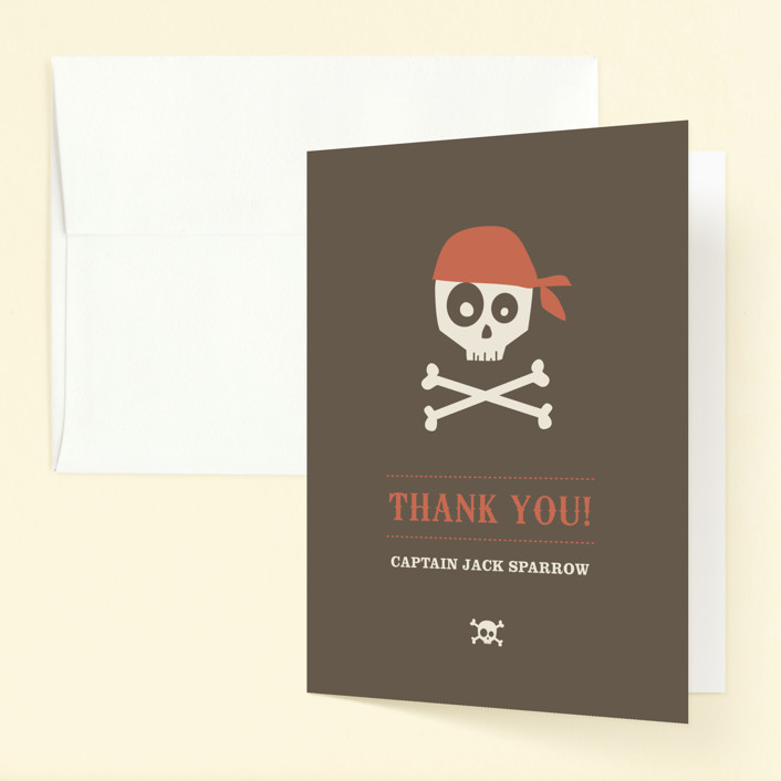 """Argh Pirates"" - Childrens Birthday Party Thank You Cards in Chocolate by Guess What Design Studio."