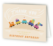 This is a orange kids thank you card by Shiny Penny Studio called The Birthday Express with standard printing on strathmore in standard.