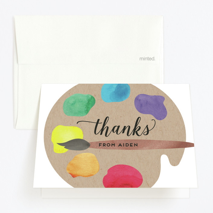 """""""Arty Party"""" - Childrens Birthday Party Thank You Cards in Primary by Jen Owens."""