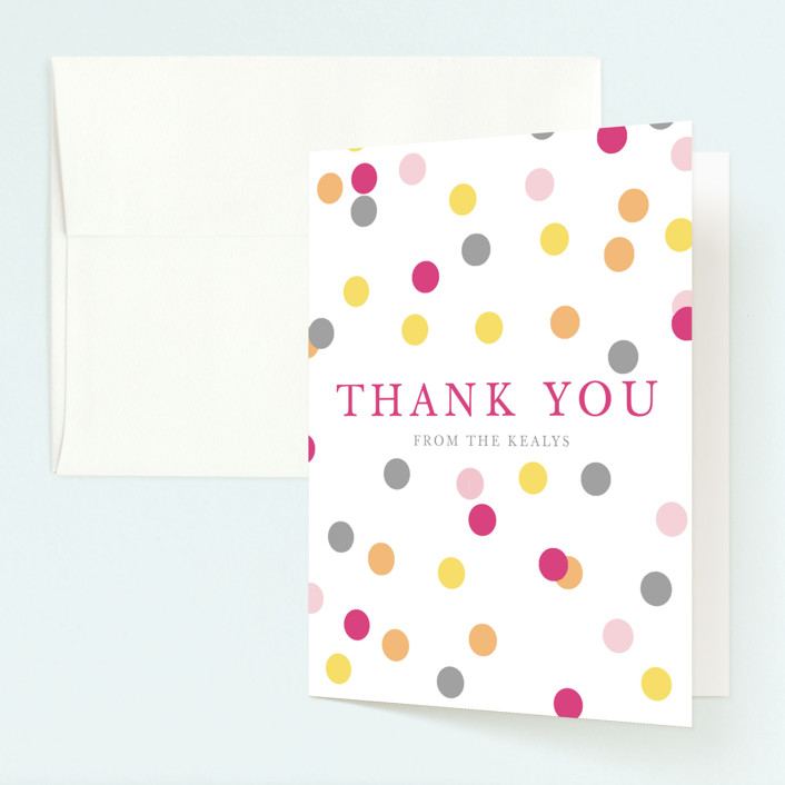 """Confetti Fun"" - Childrens Birthday Party Thank You Cards in Hot Pink by Pretty Girl Designs."