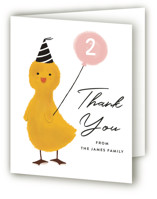 This is a pink kids thank you card by Joanne James called Duckie Party with standard printing on strathmore in standard.
