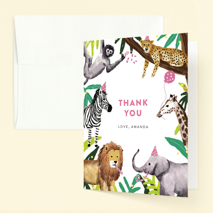 """""""Jungle Party"""" - Childrens Birthday Party Thank You Cards in Dragon Fruit by Cass Loh."""