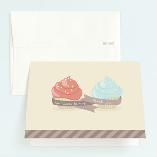Double Cupcake Fun Childrens Birthday Party Thank You Cards