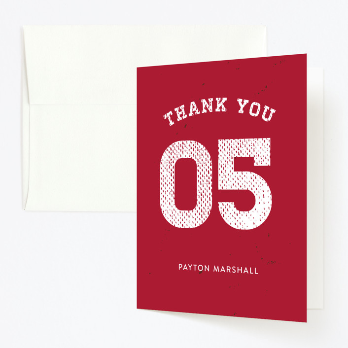 """""""Red Zone"""" - Childrens Birthday Party Thank You Cards in Candy Apple by 24th and Dune."""