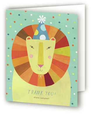 Party Lion Children's Birthday Party Thank You Cards