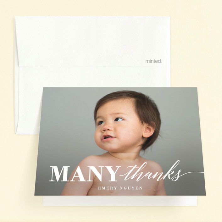 """""""Onederful"""" - Childrens Birthday Party Thank You Cards in Cloud by Susan Asbill."""