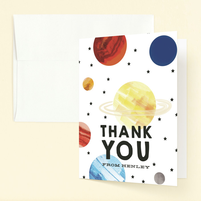 """""""Planet Party"""" - Childrens Birthday Party Thank You Cards in Vanilla by Baumbirdy."""